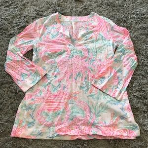 Lilly Pulitzer Crab Coral Tunic Blouse, M